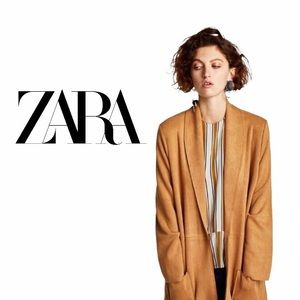 Zara Camel Suede Long Coat with Huge Front Pockets